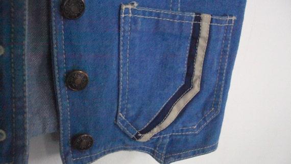 "Vintage 1970's Disco Halloween  ""Sad Song Blue""  DISCO JEAN VEST Embroidered pockets Light Wash by La Disco"