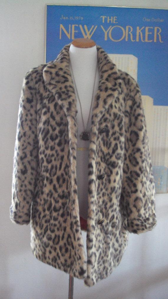 Vintage1960's FAUX LEOPARD Fur Rockabilly Vegan Rocker Hipster Lined Swing Coat By Russell Taylor, Size S-XL