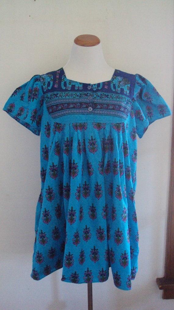 sale///20% Off///BABY DOLL Dress//Boho Krishna Hippie//Made in India//Elephants Roam Free//Cotton Size Large