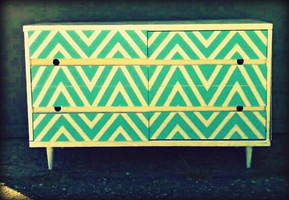 Vintage Chevron Dresser