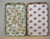 SALE--Two small vintage Chintz paper mache trays