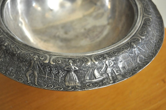 Vintage silver footed bowl with Dutch scene