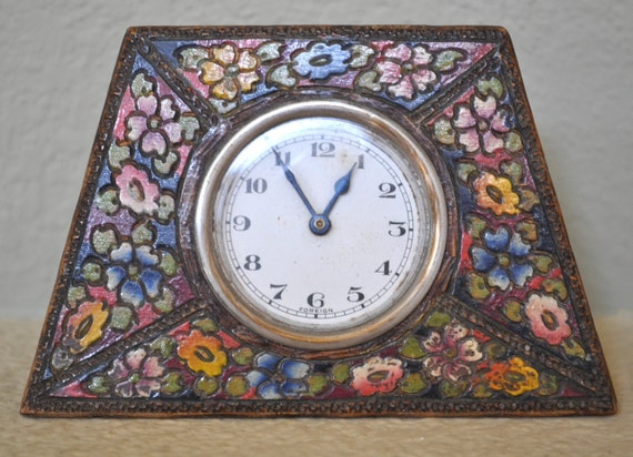 Vintage carved wood clock with flowers