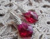 Romantic Ruby Baroque Swarovski Crystal Sterling Silver Earrings (July Birthstone)