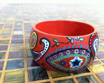 Hand-painted Paisley Wood Bangle // Gift for Her