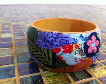 Fabric Floral Medley Wood Bracelet // Gift for Her