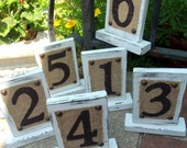 BURLAP WEDDING Rustic Table Numbers, Cottage Burlap Painted Table Numbers for WEDDING Reception, Burlap Wedding, Wedding Party Burlap Number