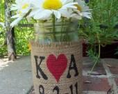 Burlap Flower Vase Mason Quart Jar with Personalized initials Wedding Table Centerpiece