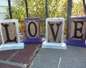 BURLAP Sign, home decor signage, love, Wedding rustic PURPLE and WHITE