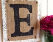 Wedding Monogram Sign, burlap rustic wedding decor, your choice of letter white, ivory