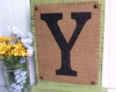 Burlap sign MONOGRAM Self Standing Custom with any letter a,b,c,d,e,f,g,h,i,j,k,l,m,n,o,p,q,r,s,t,u,v,w,x,y,z