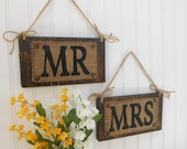 MR & MRS Wedding chair signs, distressed BROWN Hanging burlap, wedding sign
