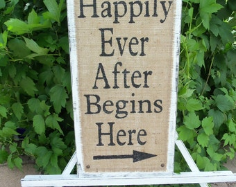 HAPPILY Ever AFTER Begins HERE by Sophias Sign Boutique Vintage Cottage Wedding Sign