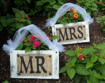 MR & MRS Cottage WEDDING signs Chair Hangars Shabby Chic Photo Prop Reception