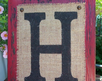 H Burlap Sign, Wedding Monogram Burlap Sign, BURLAP MONOGRAM sign Personalized any letter A-Z, Initials, Name letters, Vintage Style, 12x10