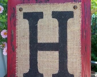 BURLAP MONOGRAM sign Personalized any letter A-Z, Initials, Name letters, Vintage Style, 12x10