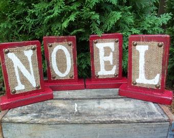 NOEL Christmas Sign, Shabby Cottage Burlap