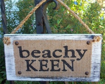 BEACHY KEEN Burlap Distressed Custom Cottage Sign