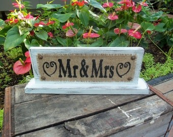 MR / MRS Distressed Self Standing Primitive Wedding Sign