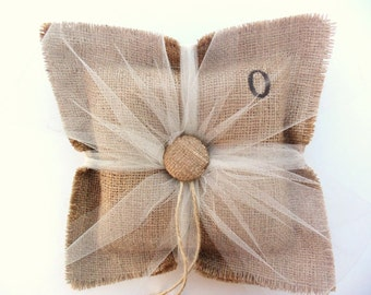 BURLAP RING Bearer PILLOW jute wedding Personalized Custom