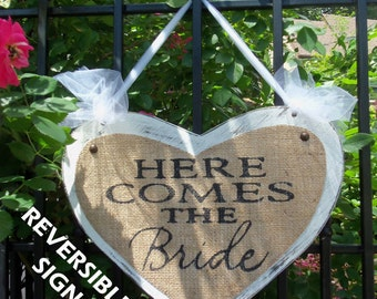 HERE COMES The BRIDE, Just Married, Happily Ever After Double sided burlap Wedding Sign