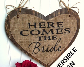 Two sided Here Comes The Bride/JUST MARRIED wedding sign heart, Brown, Happily Ever After 11inches by 14 inches