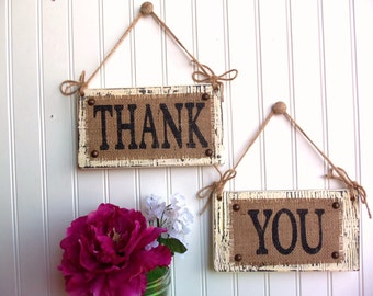 THANK YOU WEDDING hanging signs 5 x 9 Burlap, photo prop, chair signs