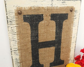 Ivory wedding monogram sign, BURLAP, Custom Initials, rustic 12x10