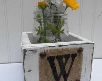 WEDDING MASON JAR centerpiece, flower holder vase rustic burlap monogram, reception