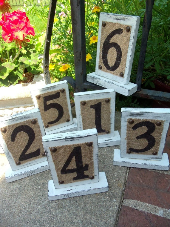 Shabby Chic Wedding, WEDDING TABLE NUMBERS, Vintage Sign Décor, party table