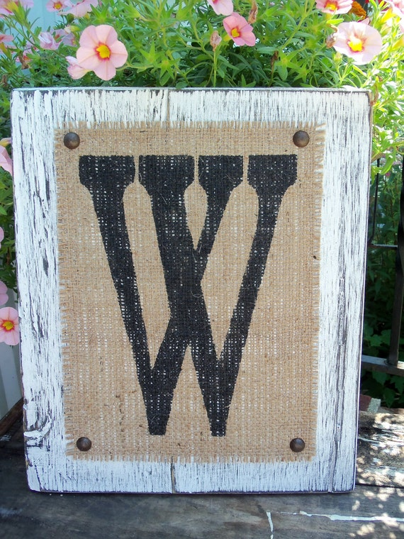 Wedding Sign, Distressed Monogram Letter Sign, Table SIGN, WHITE, Cottage decor, Any letter A-Z