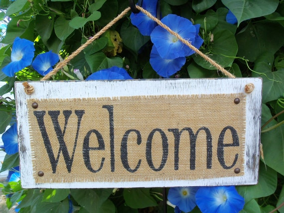 Burlap WELCOME Distressed RUSTIC sign