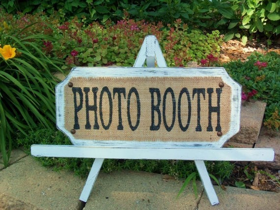 PHOTO BOOTH, White Hand Held Prop, Vintage, Burlap WEDDING Sign, Romantic Wedding Style, French Cottage