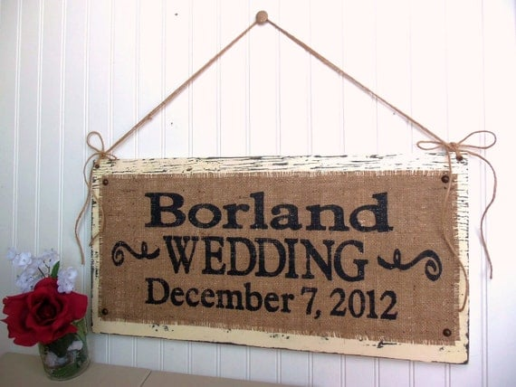 WEDDING SIGN custom personalized NAME, Rustic ceremony decor