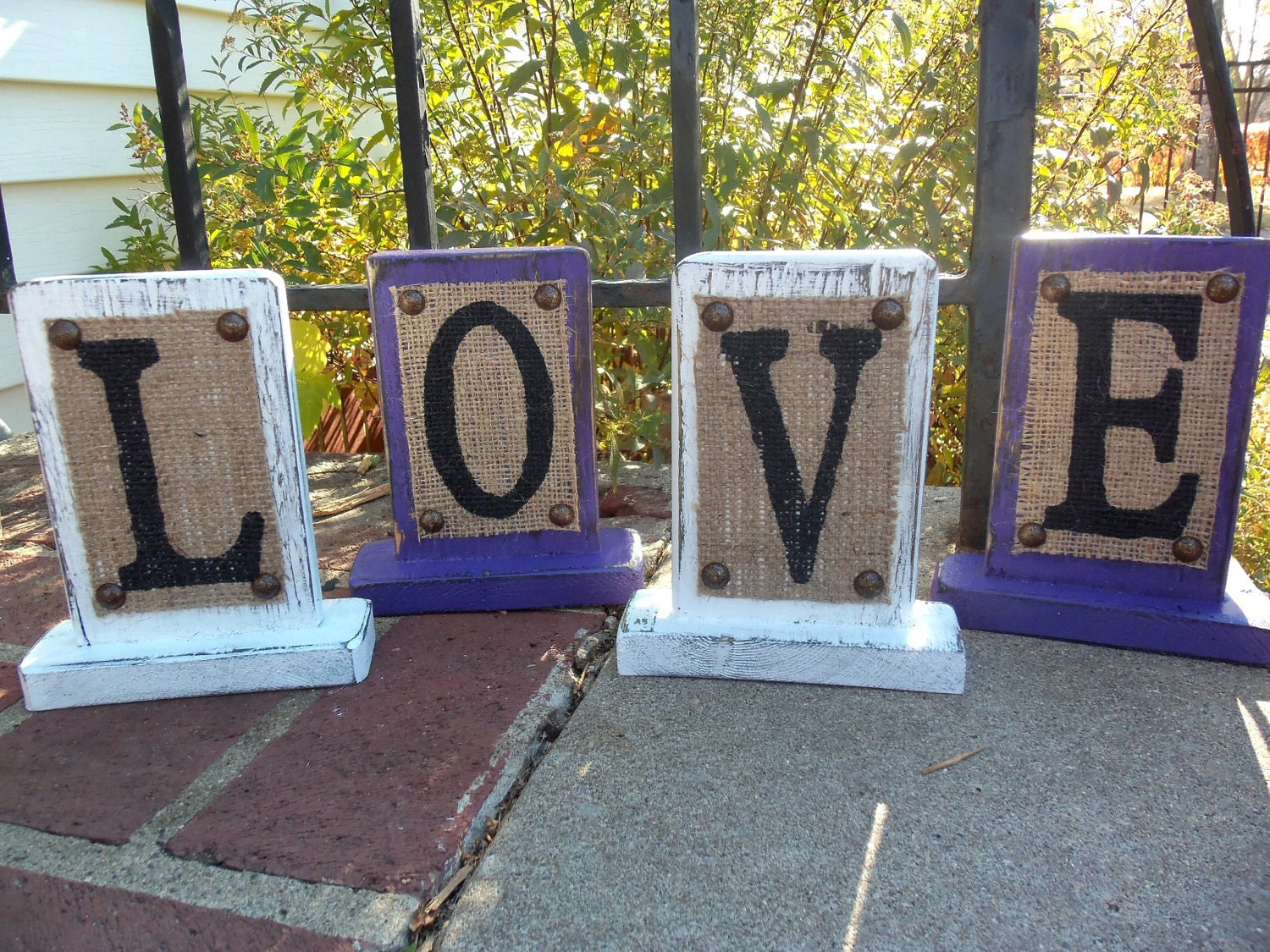 Burlap Sign Home Decor Signage Love Wedding Rustic Purple