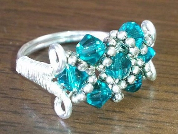 Custom Swarovski Crystal Beaded Ring- you pick color and size