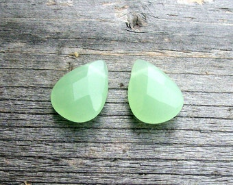 Mint Green Opaque Czech Glass Briolettes- 18mm (2)