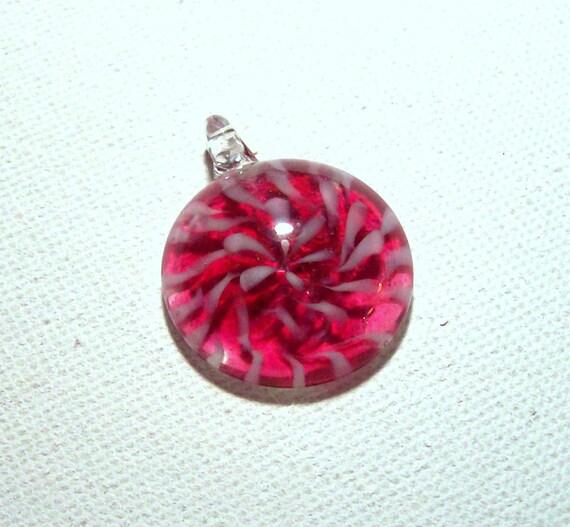 Dark Pink and White Swirl Art Glass Pendant - 30mm (1)