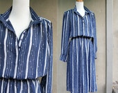 Vintage Nautical Dress, Stripes, Navy Blue and White, Sheer, 70s, Womens Medium