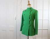 RESERVED  Saks Fifth Avenue Vintage Green Coat, Wool Pea Coat, Double Breasted,  A-Line, Womens Small, Designer Jacket  1950s 1960s