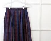Vintage Berry Skirt, Plaid Pleated Wool, Blue Purple, Highwaisted Skirt, Small XSmall Womens Skirt