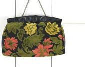 Vintage Tapestry Purse, Carpet Bag, Wedding Formal Handbag, Floral Embroidered