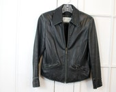 RESERVED Vintage Black Leather Jacket, Lord & Taylor, Biker Motorcycle, Womens Small XSmall