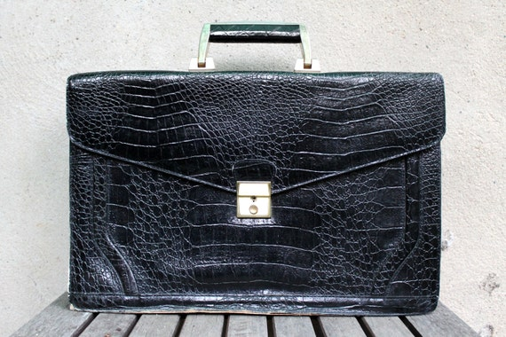 RESERVED Vintage Black Briefcase, Alligator Crocodile, Genuine Leather, Sleek Simple Chic, 70s, Mod Laptop Ipad Carrier, Unisex Mens Womens