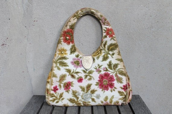 Beautifully Broken Vintage Tapestry Purse, Pastel, Large Carpet Bag, Shabby Chic, Handbag, Distressed Floral Embroidered, Chic 50s 60s