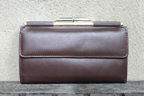 Vintage Dark Brown, Eggplant Brown, Wallet, Genuine Leather, Chic Mod, Simple Sleek, Womens Large Change Purse, Plum Brown