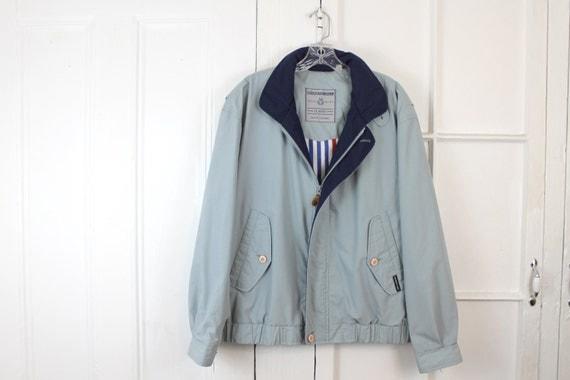 Vintage Members Only Jacket, 80s Coat, Windbreaker with Hoodie - Powder Blue Bomber - UNISEX - Mens Medium or Womens Large
