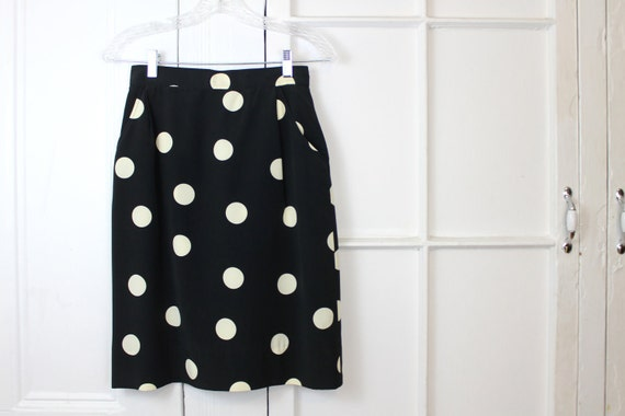 RESERVED Vintage Polka Dot Pencil Skirt, Bold Pattern, Black and White, Pockets, Womens Small
