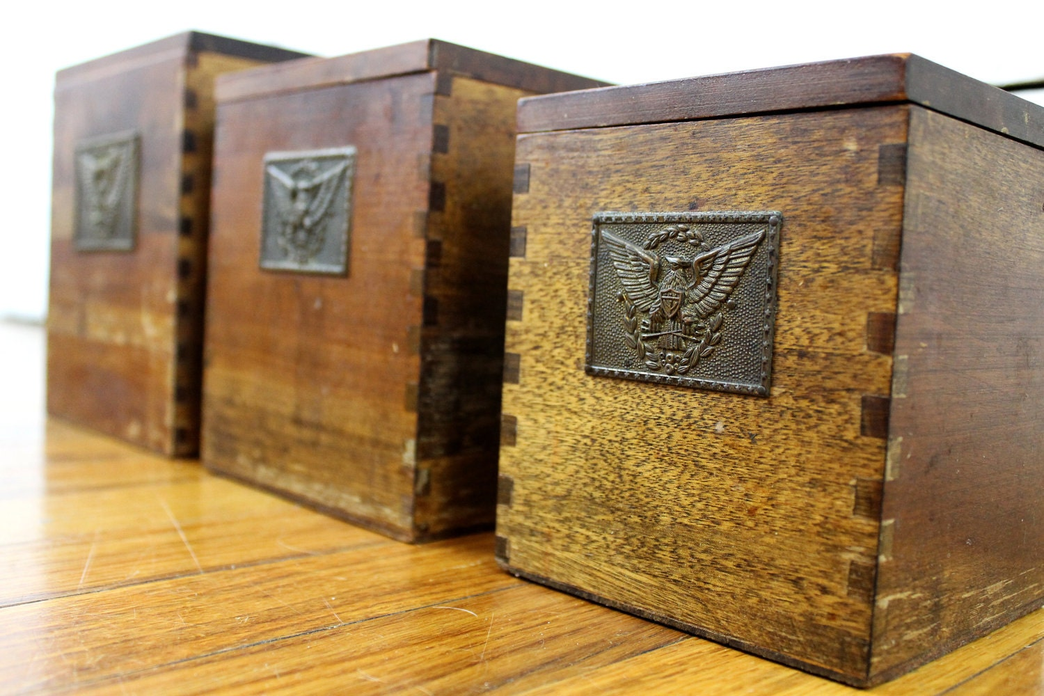 Rustic wooden boxes vintage dovetail box set primitive - Small rustic wooden boxes ...