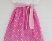 Girls t-shirt dress, with sash, Pink with white dots, perfect for a birthday party